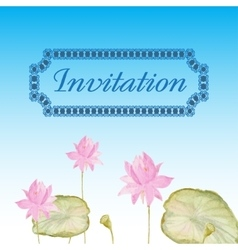 Invitation card with flowers lotus vector