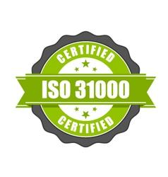 ISO 31000 standard certificate badge vector