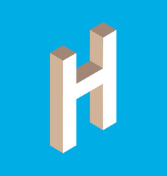 isometric letter h vector image