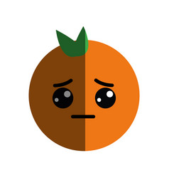 Kawaii cute sad orange fruit vector