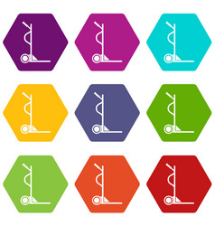 Large size trolley icons set 9 vector
