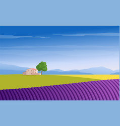 lavender field mountains and trees vector image