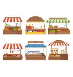 Local market street food places stands outdoor vector