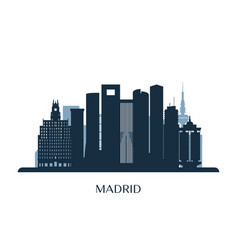 madrid skyline monochrome silhouette vector image