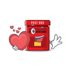 Mailbox with a holding heart mascot vector