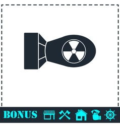 Nuclear bomb icon flat vector