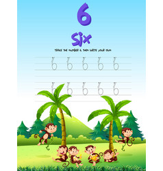 Number five tracing worksheets vector