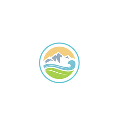 ocean sea wave leaf ice mountain nature fresh logo vector image