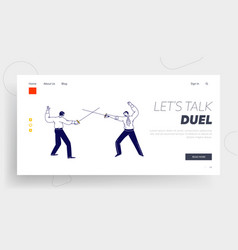 Opponents fighting on swords landing page template vector