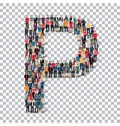 People letter alphabet 3d vector image