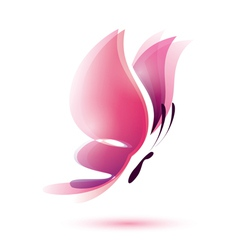 pink butterfly symbol vector image