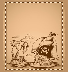 Pirate theme drawing on parchment 2 vector
