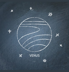 Planet venus icon on chalkboard vector