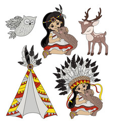 Pocahontas life indians princess pets illus vector