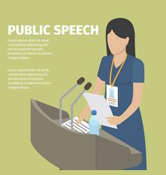 public speech conceptual banner faceless woman vector image