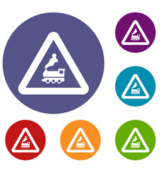 railway crossing without barrier icons vector image vector image