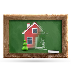 realistic house being drawn on a chalkboard vector image