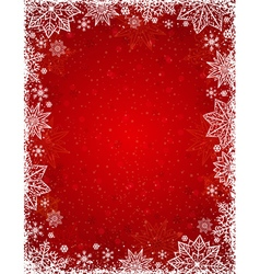 Red background with frame of snowflakes and stars vector image