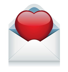 Red heart in the envelope vector