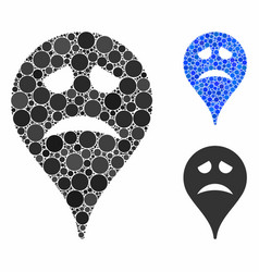 Sadly smiley map marker mosaic icon round dots vector