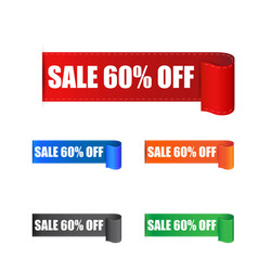Sale 60 off sticker label on white background vector