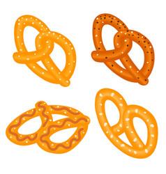 salt pretzel icon set isometric style vector image