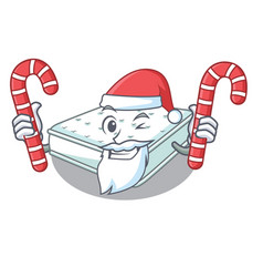 Santa with candy mattress in cartoon on the shape vector