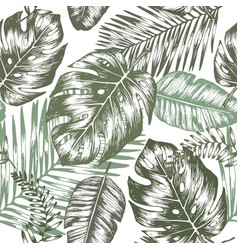 seamless background with tropic leaves vector image