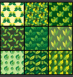seamless pattern with green leaves background vector image