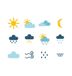 set climate forecast weather icons vector image