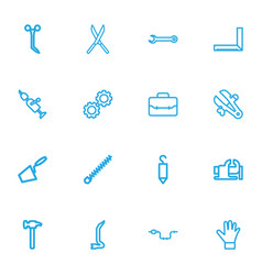 set of 16 editable tools outline icons includes vector image