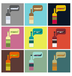 Set of icons in flat design alcohol duty free vector