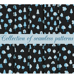 Set of seamless patterns with trees in a flat styl vector