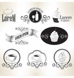 Set of vintage retro coffee sweet cook badges and vector image