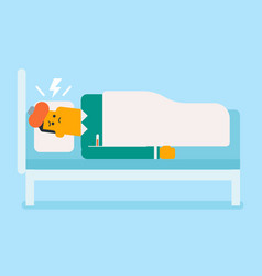 Sick caucasian white man laying in bed vector