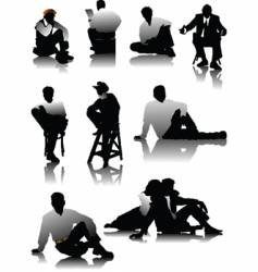 sitting men vector image