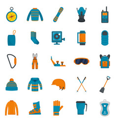 snowboard equipment winter icons set flat style vector image
