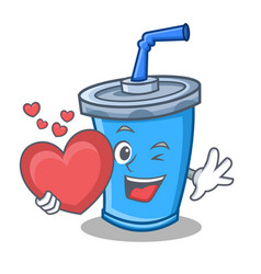 Soda drink character cartoon with heart vector