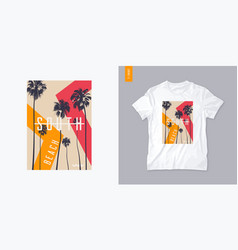 south beach graphic t-shirt design with palm trees vector image