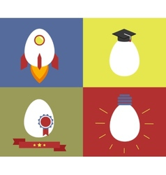 Square icons with egg as rocket knowledge vector image