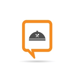 square orange speech bubble with cooking icon vector image