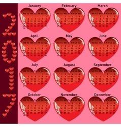 Stylish calendar with red hearts for 2017 vector