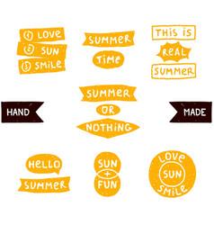 Summer doodle phrase collection vector