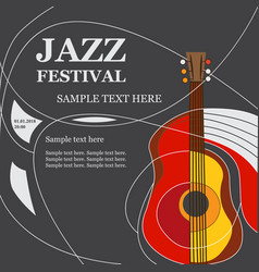 template design poster with acoustic guitar vector image