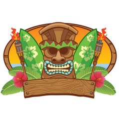 Tiki mask with surfing board vector