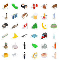 Tourist attraction icons set isometric style vector