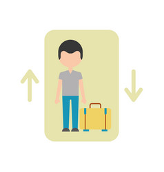 Traveler with suitcase avatar in elevator vector