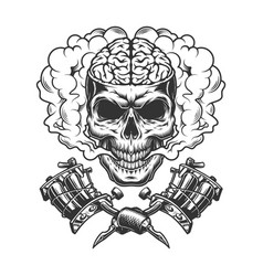 vintage monochrome skull with human brain vector image