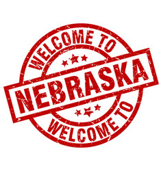 Welcome to nebraska red stamp vector