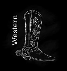 western boot hand draw blackboard vintage vector image